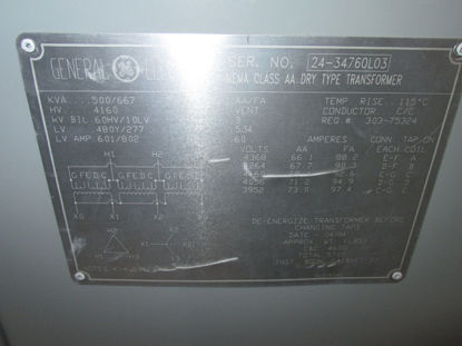Picture of 500/667KVA 4160-480Y/277V General Electric K-4 Dry Type Transformer NEMA 1 #171