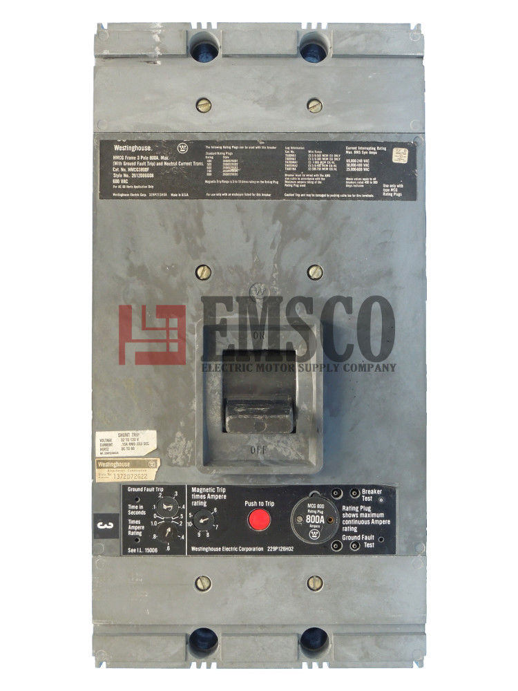 Picture of HMCG3800F Westinghouse Circuit Breaker