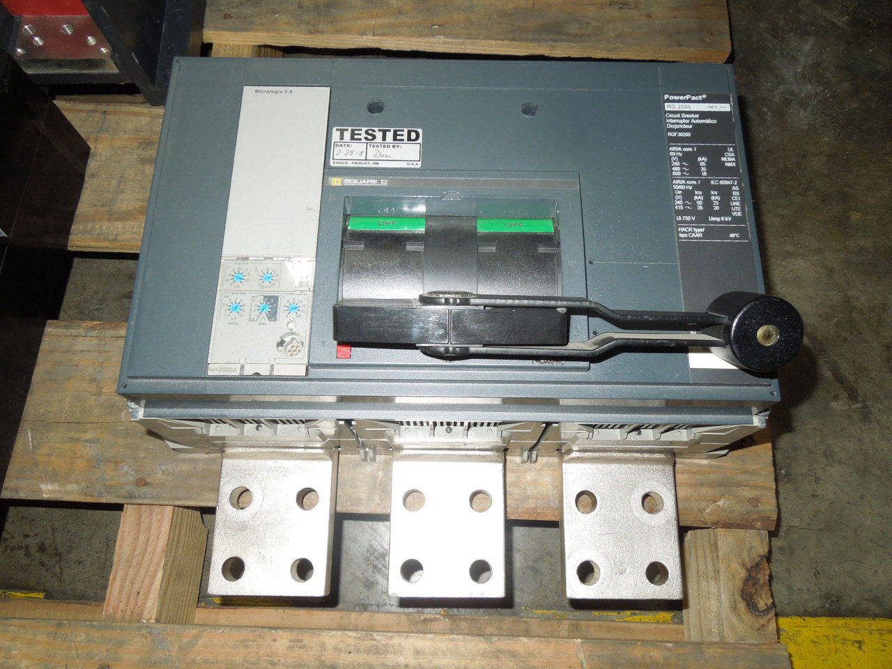 Picture of RGF36200 Square D PowerPact Breaker 2000A 600 VAC 5.0 Trip Tested