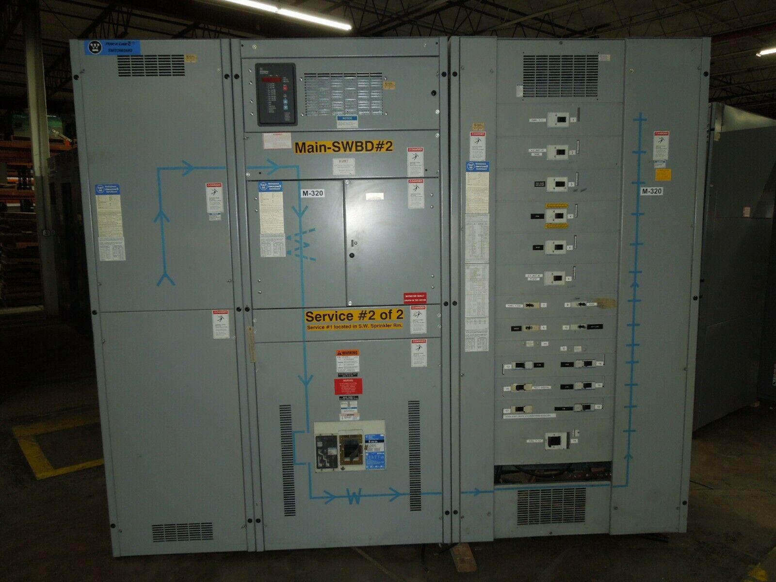 Picture of Westinghouse Pow-R-Line C Switchboard 2000A 3PH 480Y/277V Main Breaker Line-up CRD320T65W W/ LSG Used E-OK