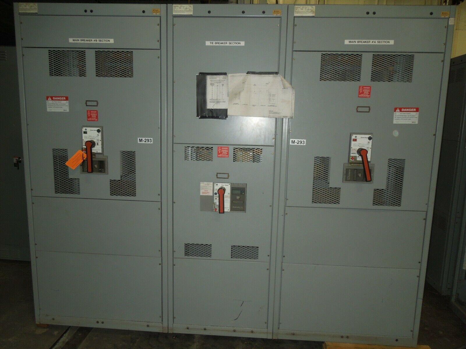 Picture of GE AV-Line Switchboard 2500A 3ph 480/277V Power Break Main-Tie-Main Line-up NEMA 1 Used