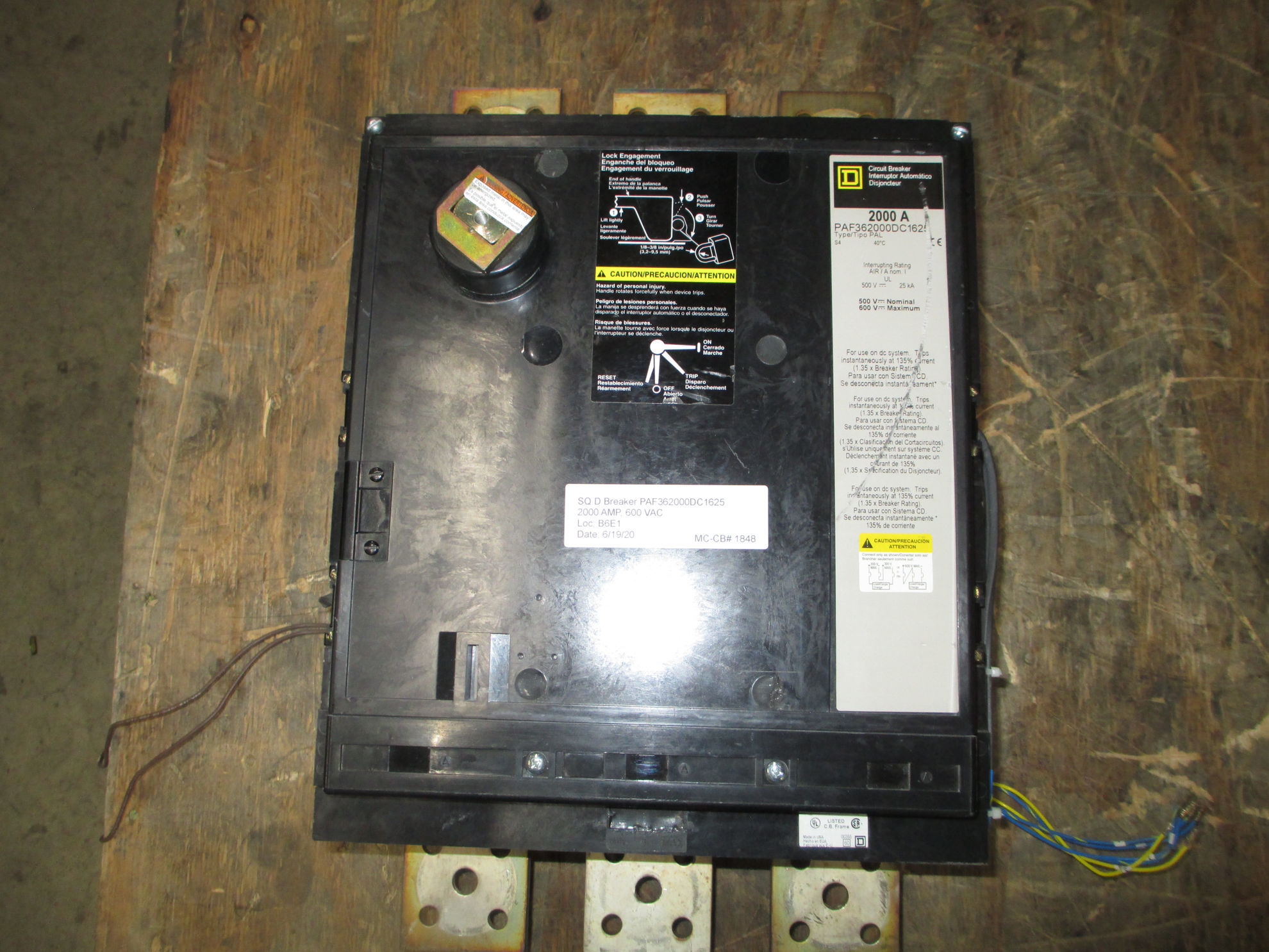 Picture of PAF362000DC1625 Square D Breaker 2000 Amp 500-600 VDC *No Handle*