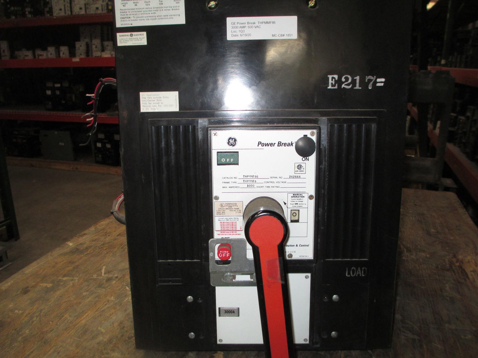 Picture of THPMMF86 GE Power Break 3000 Amp 600 VAC MO/FM