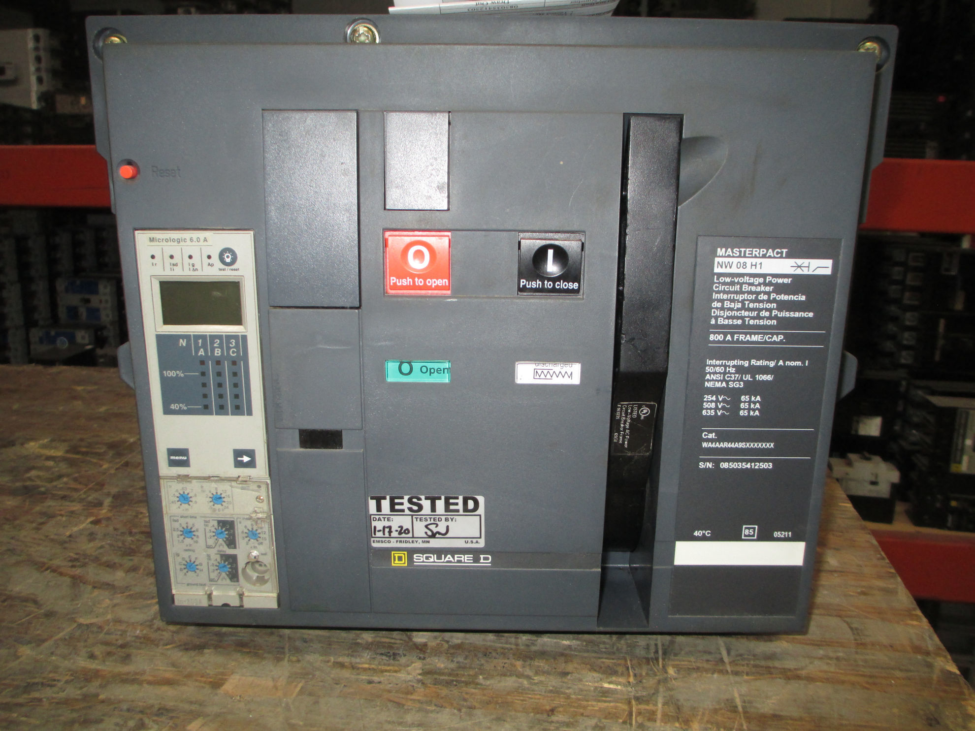 Picture of NW 08 H1 Square D MasterPact Breaker 800 Amp 600 VAC LSIG MO/DO