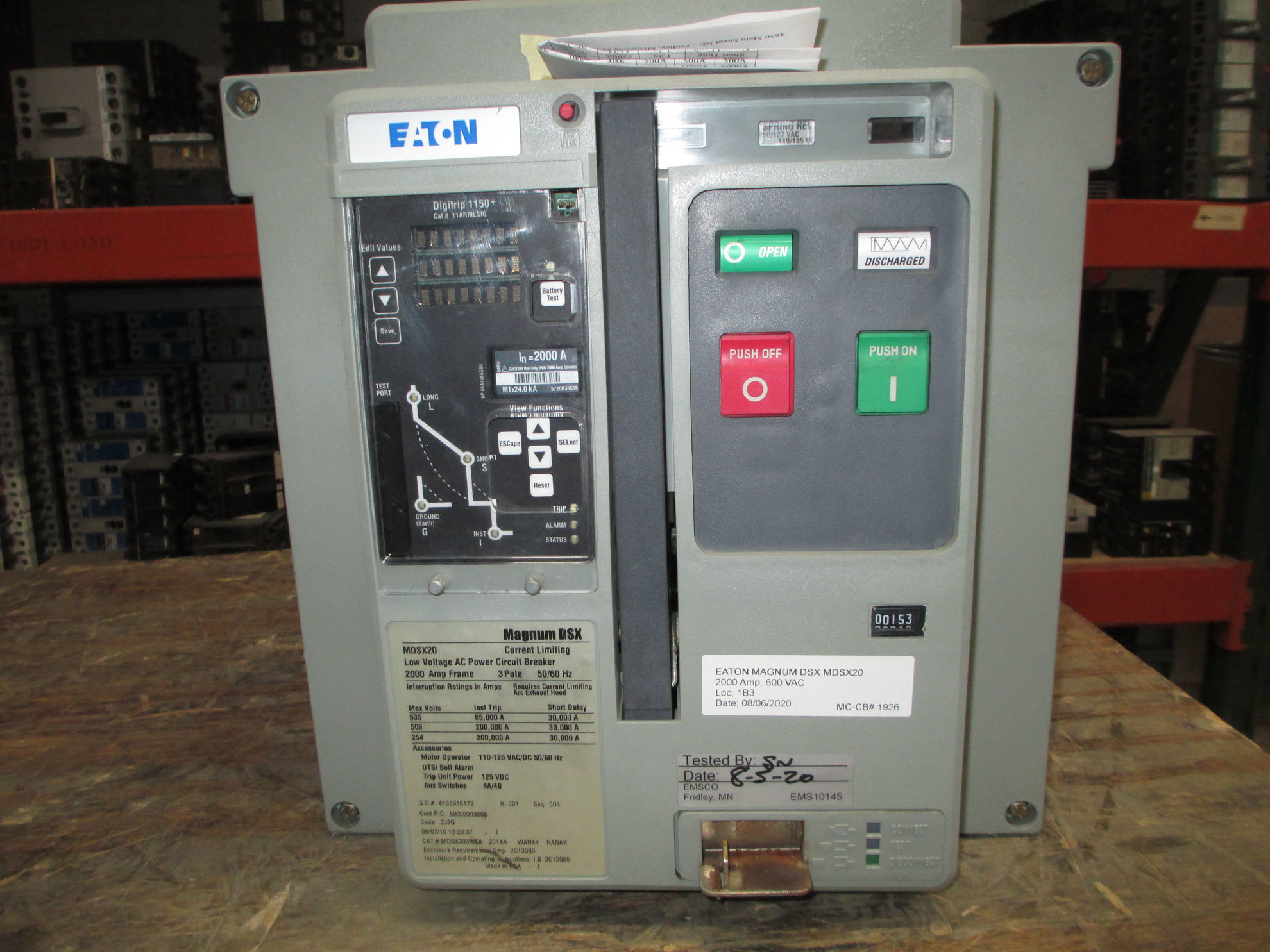 Picture of MDSX20 Eaton Magnum DSX Breaker 2000 Amp 600 VAC LSIG EO/DO